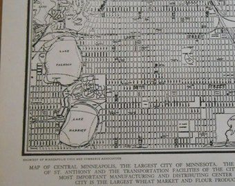 1938 Minneapolis City Map, Vintage street map