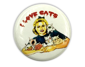 I LOVE CATS Glow Pinback Button