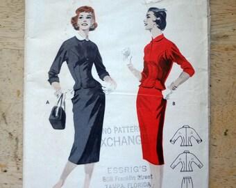 Vintage 1950s Suit Sewing Pattern, Butterick 7446, bust 30
