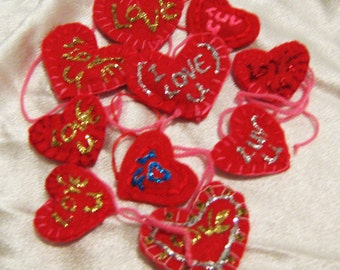Ten hand made hearts, Valentine hearts, geekery, love for sale, geekery