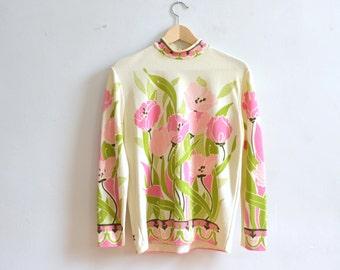Vintage Art Nouveau Poppy Tunic Top/ 1970's Mock Turtle Neck Sweater/ Medium