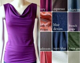 Sleeveless top, organic cotton shirt, knit jersey tunic top, handmade organic clothes