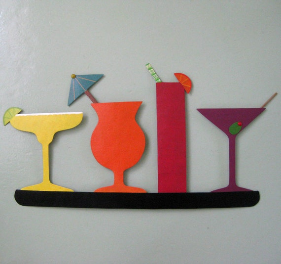 Metal Wall Art Cocktail Sculpture Kitchen Wall Art Decor Cocktail