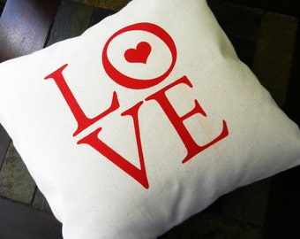 "Love Pillow Cover, Wedding Love Pillow, Valentine's Day Gift, Love Text, fits 14"" insert (insert not included)"