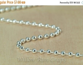 ON SALE 10 High Quality 18 inch Shiny Silver Plated Ball Chain 2.4 mm with Lobster Clasp  (15-40-306)
