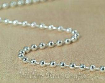 10 High Quality 20 inch Shiny Silver Plated Ball Chain 2.4 mm with Lobster Clasp  (15-40-306)