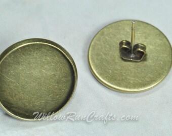 50 pcs 12mm Circle Earring Stud Trays 12mm (25 Pairs) Bronze (07-26-592) Blank Bezel Cabochon Setting