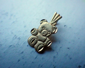 14k Teddy Bear Necklace/Charm - Solid Yellow Gold - 1987.