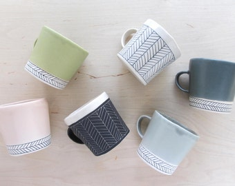 Porcelain Herringbone Mug - Made to Order