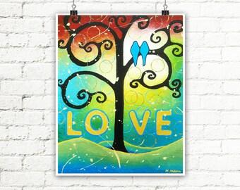 Love Bird Print Wedding Print Bird Wall Art Gift for Couple Bird Art Anniversary Present