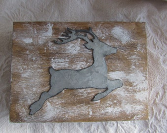 Winter Christmas Rustic Wedding Stained Aged Woodland Deer His Hers Divided Wedding Ring Bearers Box