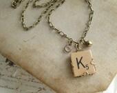 Letter K Necklace. Scrabble Letter Necklace. Initial Necklace. Vintage Wood Tile in Antiqued Brass Filigree. Rustic Monogram Necklace.