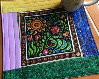 Sew Catty bright cat - Mug Rug or Candle Mat  - oversized coaster