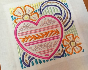 Heart Mola Style - Machine Embroidered quilt block - ready to sew or frame - Mola style 9 in / gift for her / DIY / ready to quilt / mug rug