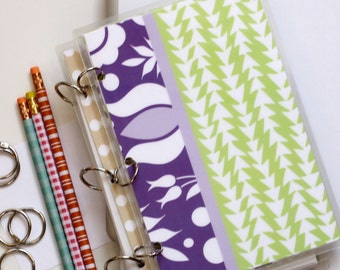 Planner Cover, 6 x 9 Journal Binder, Kalocsai, Purple Stripe