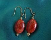 Red Sponge Coral Oval Earrings