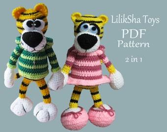 Amigurumi Crochet PDF Pattern - Tiger boy & Tiger girl - 2 patterns