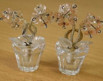 2 Miniature Pots of Flowers.. Place Holders..Pink and Clear..Czech Glass