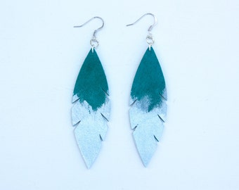 Leather Feather Earrings - Emerald Green Suede dipped in Silver with Silver Nickel Free Ear Wires