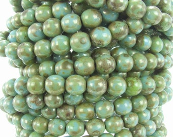 6mm Opaque Turquoise Picasso Luster Czech Glass Round Beads - Qty 30 (AW36)