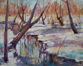Original Landscape Oil Painting Winter Thaw by Marty Husted