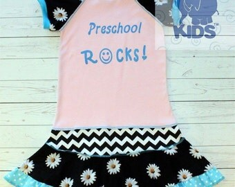 Preschool rocks....hand silk screened...recycled upcycled repurposed and pieced dress or tunic size 5