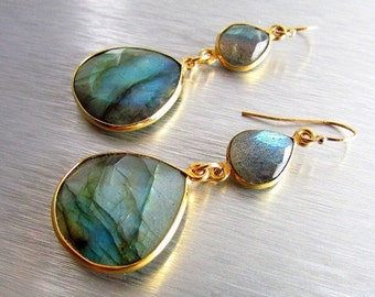 25% Off Summer Sale Labradorite Dangle Wire Wrapped Earrings