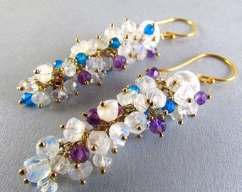 25% Off Summer Sale Moonstone, Amethyst and Turquoise Blue Quartz Long Cluster Gold Filled Earrings