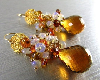 BIGGEST SALE EVER Madeira Citrine With Ethiopian Opal, Tourmaline and Crystal Gold Filled Cluster Earrings