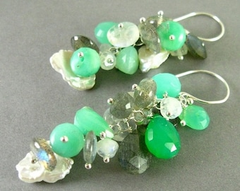 BIGGEST SALE EVER Chrysoprase with Labradorite, Moonstone and Pearl Earrings