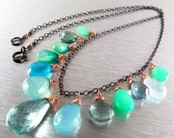 BIGGEST SALE EVER Green and Blue Mixed Gemstone Oxidized Silver With Rose Gold Necklace, Boho Style Necklace