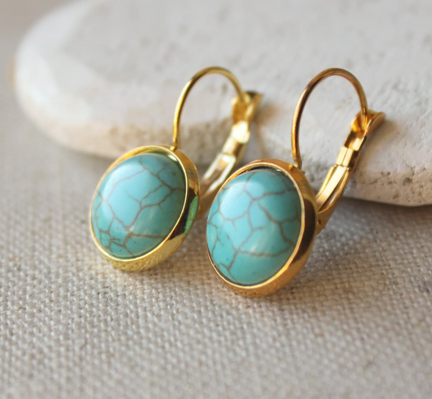 turquoise earrings gold turquoise dangle earrings by. Black Bedroom Furniture Sets. Home Design Ideas