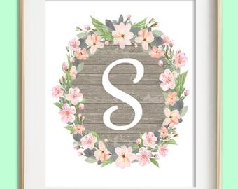 Letter S Printable, Instant Download, Baby Girl Nursery Wall Art, Girl Nursery Decor, Floral Monogram, Pink Mint Gray Letter Art, Baby Gift
