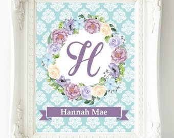 Personalized Baby Nursery Print, Baby Girl Nursery Wall Decor, Custom Baby Gift, Kids Wall Art, Lavender Lilac Turquoise Purple Art Print