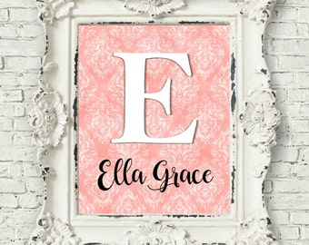 Girls Wall Art, Coral Nursery Wall Decor, Baby Girl Nursery, Nursery Decor Girl, Personalized Nursery Baby Custom Name Print, New Mom Gift