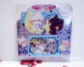 Kamio Japan Sticker Flakes - Secret Cat - 50 Pieces (46387)