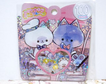 Kamio Japan Sticker Flakes -Cute Cats - 61 Pieces (46247)