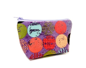 Small Pouch, Coin Purse, Change Purse, Gift for Her, Mothers Day Gift, Gift Under 20, Zipper Pouch, Fabric Pouch, Pouch, Zen Circles Purple