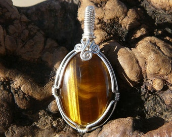 Beautiful Tiger Eye and Sterling Silver Wire Wrapped Pendant ~ Wire Wrapped Stone, Healing Stone Pendant, Natural Tiger Eye, Earthy