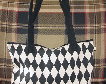 Handmade Black and Cream Harlequin Canvas Tote