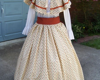Colonial , Victorian, costume Long SKIRT, with Cape and Rust Sash one size fit all Beige, rust and teal calico Skirt