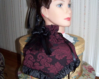 Ladies Civil War Hat Victorian with matching reticule,Burgundy and Black Brocade teardrop with Black Satin ruffle costume
