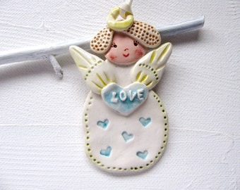 Love Angel Ornament Hand Sculpted Clay