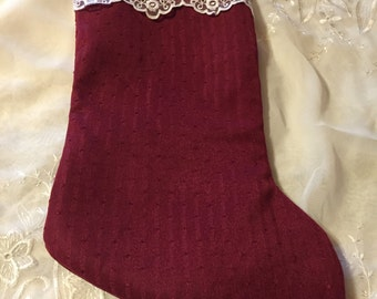 Handmade Victorian Red Silky with White Lace Large Christmas Stocking