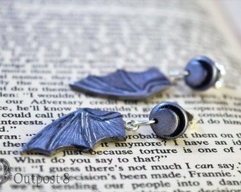 Night Flight, Crescent Moon and Batwing Dangle Earrings