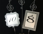 10 Music note table markers photo and menu holder centerpiece floral picks