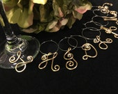 Wine charms personalized initial  bridesmaid gift party favor