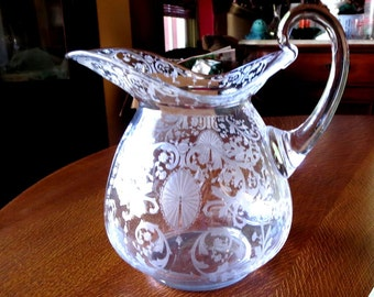 Cambridge Glass Candlelight Etch Pitcher Hard to Find Doulton Shape Fab Etching