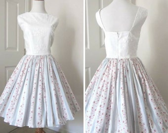 1950s - 1960s - Vintage Style Dress - Bridal Shower Dress - Tea Party Dress OOAK Dress - Full Skirt Dress - Garden Party Dress - Size Med