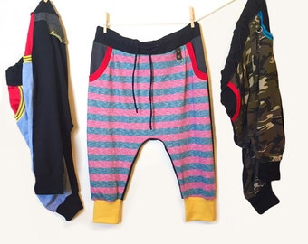 Heather Pink Stripes Drop Crotch Pants